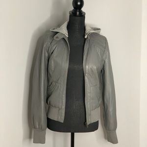 Gray Hooded Leather Jacket